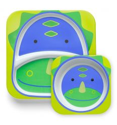 skip hop - plate and bowl set dino