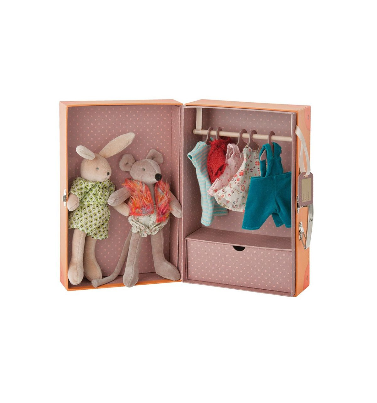 moulin roty wardrobe suitcase with soft toys le petit armoire. Black Bedroom Furniture Sets. Home Design Ideas