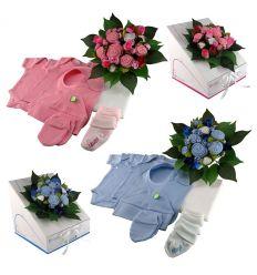babuquee - bouquet nascita con capi abbigliamento 0-3 mesi