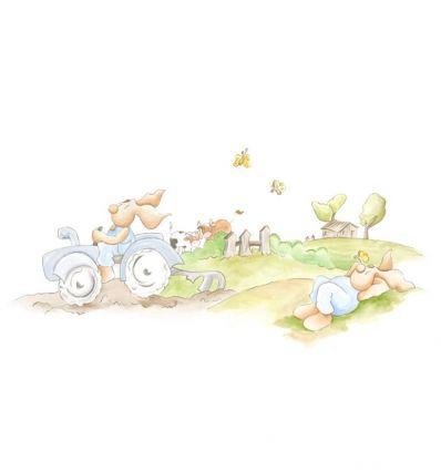 coordonné - carta da parati pannello farm