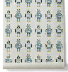 ferm living - carta da parati robots
