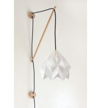 studio snowpuppe - paper origami lamp wall fixture klimoppe with moth white
