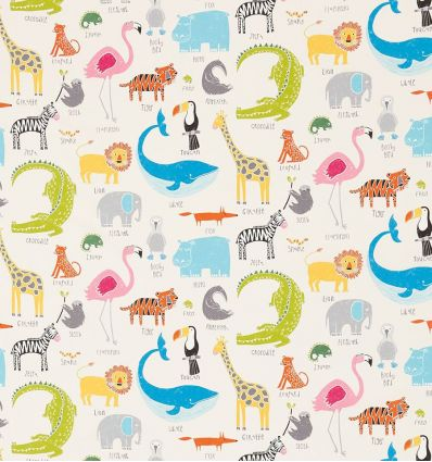 "scion - tessuto d'arredo animali ""animal magic"" (tutti frutti/chalk)"
