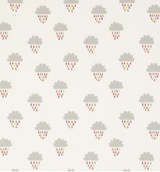 "scion - embroidered fabric clouds and raindrops ""april showers"" (poppy/tangerine/sunshine)"