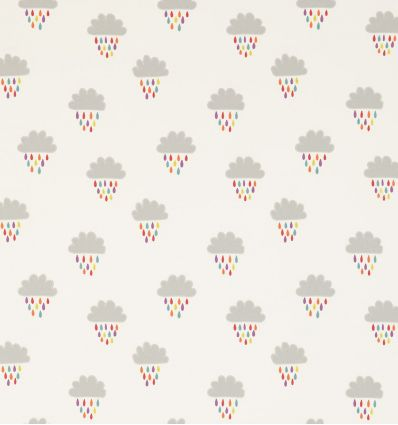 scion - embroidered fabric clouds and raindrops april showers (poppy/tangerine/sunshine)