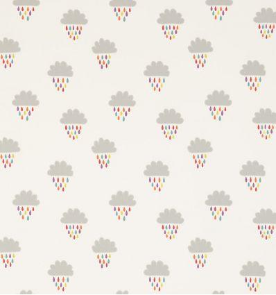 scion - tessuto d'arredo ricamato nuvole e pioggia april showers (poppy/tangerine/sunshine)