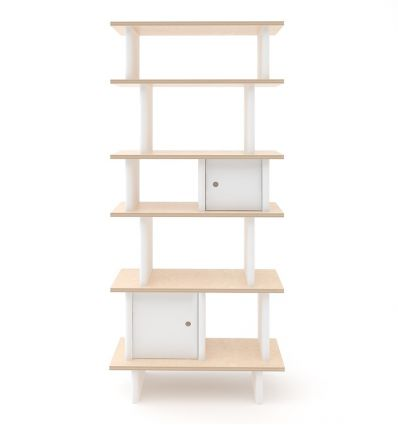 oeuf - vertical mini library (white/birch)