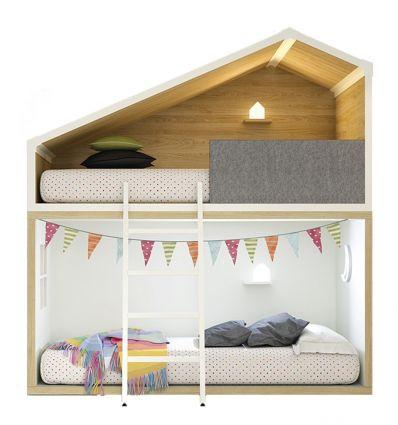 lagrama - letto a castello casetta cottage (bianco/naturale)