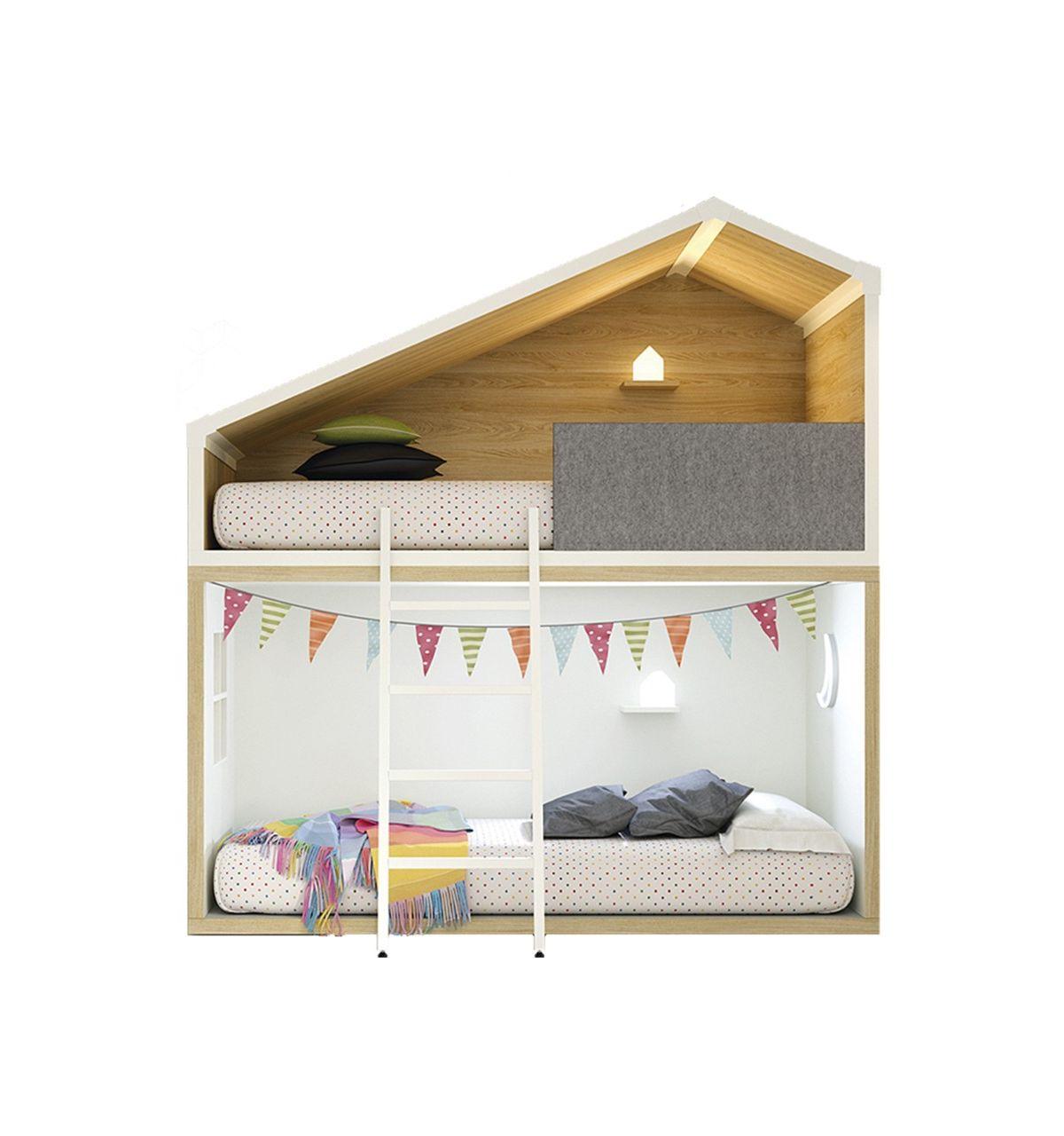 Lagrama letto a castello a forma di casetta cottage bianco naturale - Letto a castello bianco ...