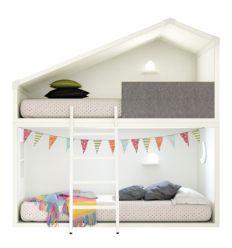 lagrama - letto a castello casetta cottage (bianco)