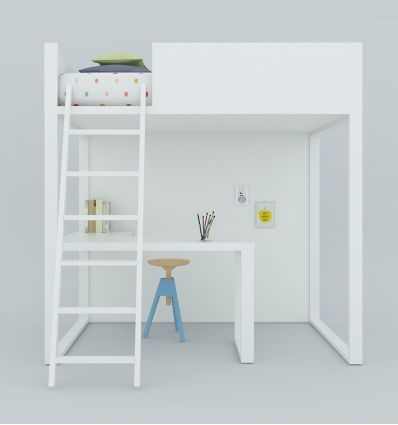 lagrama - homage loft bed with desk (white)