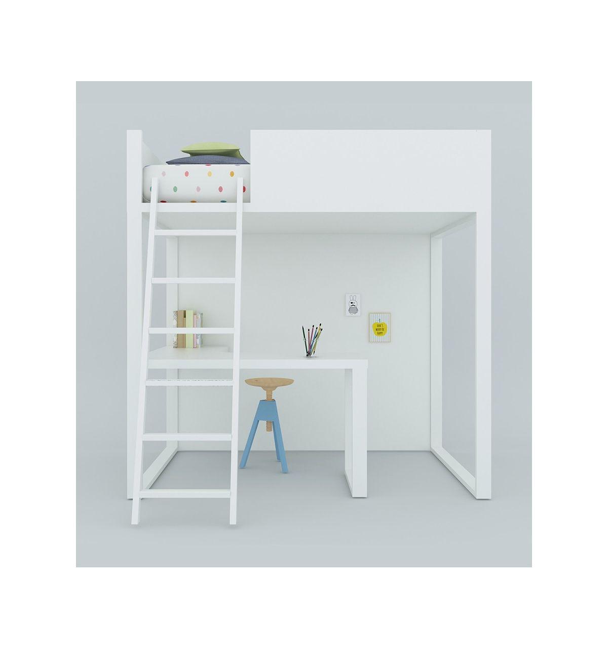 Lagrama letto a soppalco homage con scrivania bianco - Letto soppalco con scrivania ...