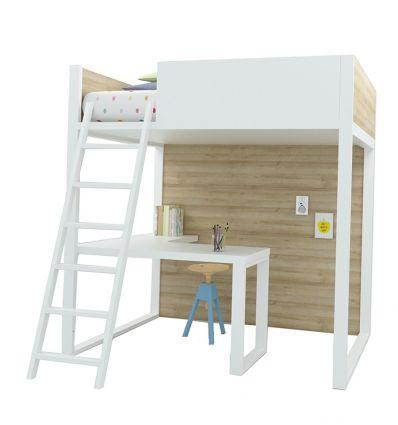 lagrama - letto a soppalco homage con scrivania (bianco/naturale)