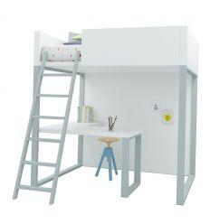 lagrama - homage loft bed with desk (white/grey)