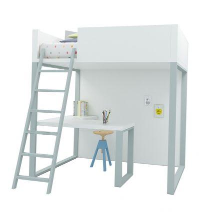 lagrama - letto a soppalco homage con scrivania (bianco/grigio)