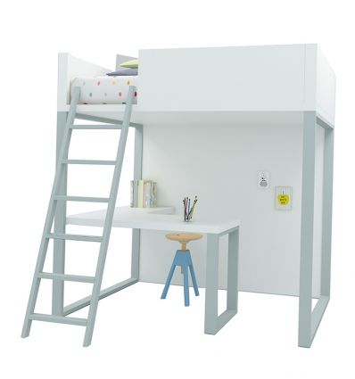 lagrama - homage loft bed with desk (white/grey)