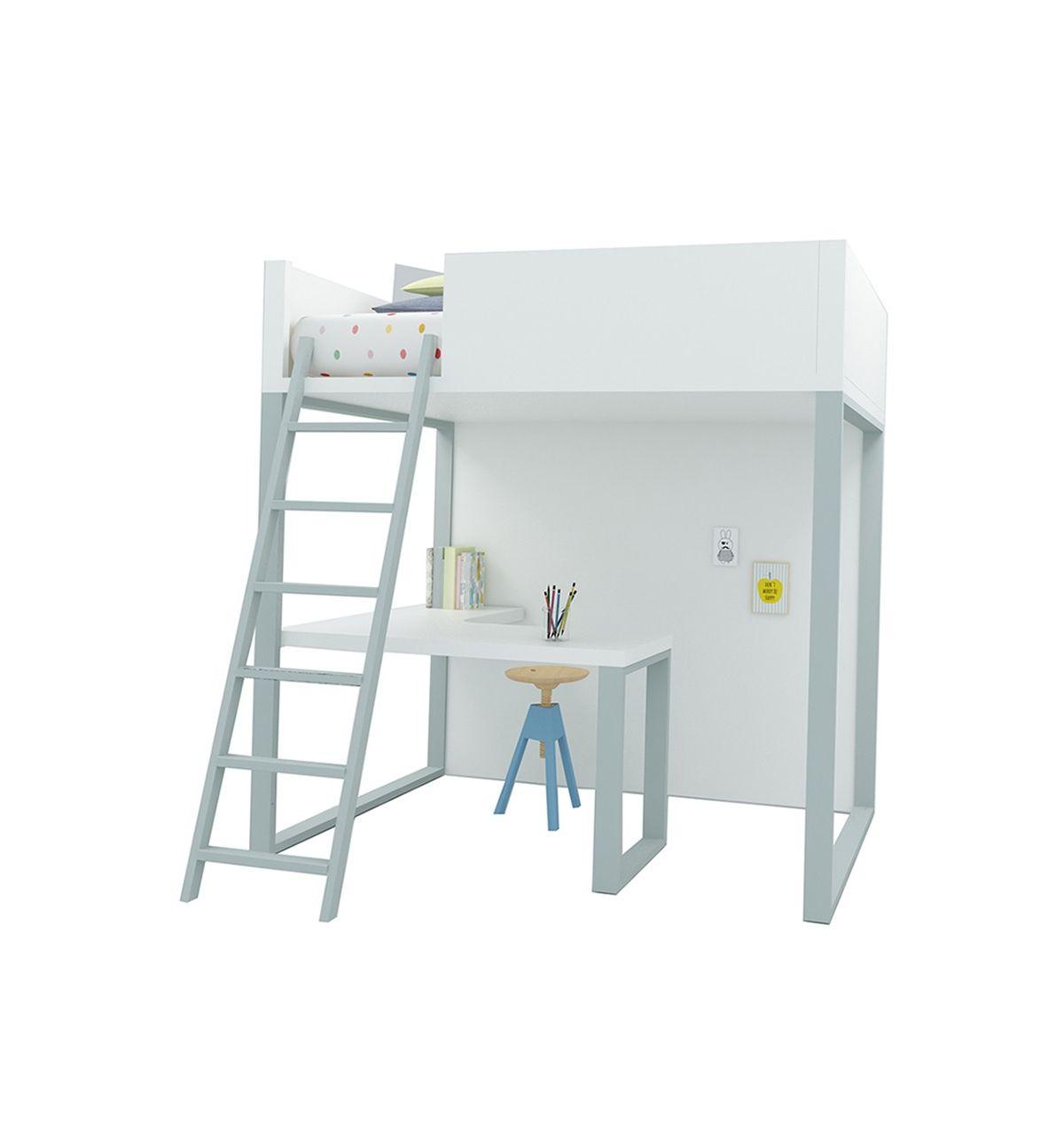 Lagrama letto a soppalco homage con scrivania bianco grigio - Letto soppalco con scrivania ...