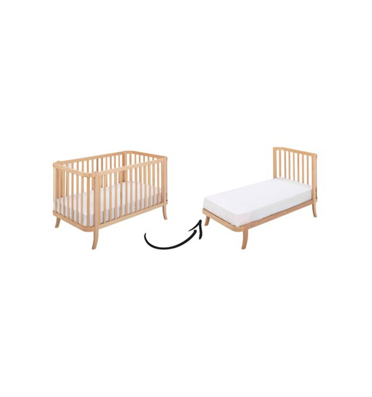 Hugs Factory Transformable Crib 2 In 1 Manhattan Natural