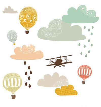 love mae - stickers da muro in tessuto tra le nuvole