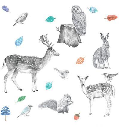 love mae - stickers da muro in tessuto animali della foresta