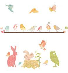 love mae - stickers da muro in tessuto animali del bosco