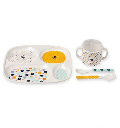 atomic soda - dinner set with sectioned plate cats