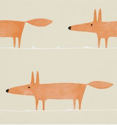 "scion - carta da parati volpi ""mr fox"" (ginger)"
