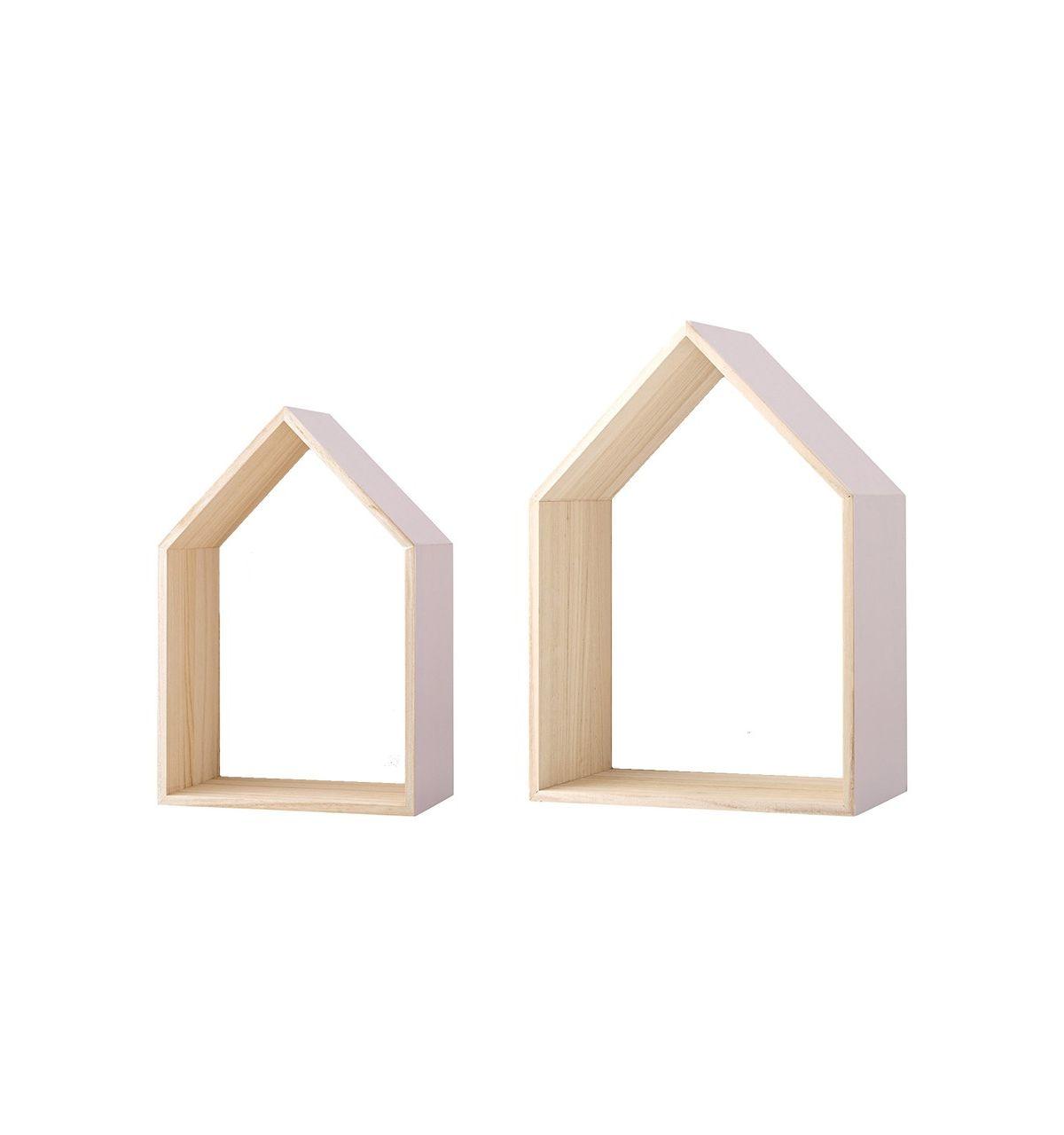 Bloomingville mensole in legno a forma di casa for Mensole legno naturale