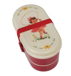 lunch box with cutlery vintage girl
