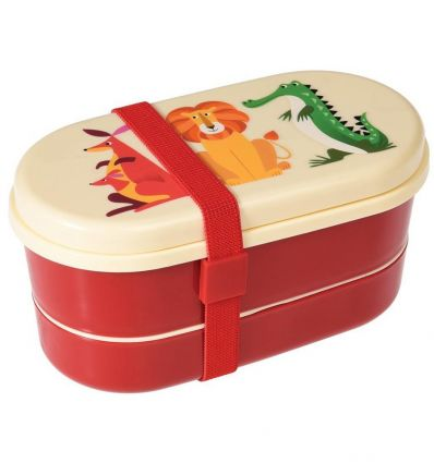 lunch box with cutlery animals