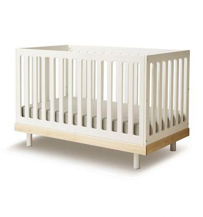 oeuf - transformable crib classic (white/birch)