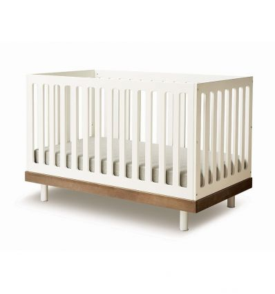 oeuf - transformable crib classic (white/walnut)