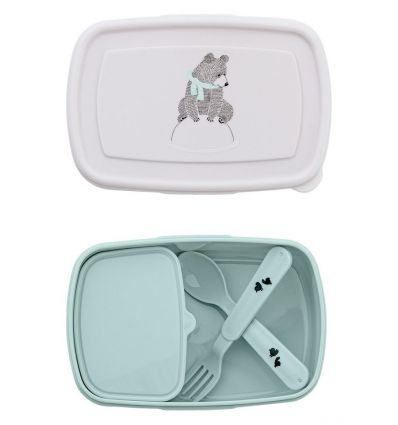 bloomingville - lunch box with cutlery (green)