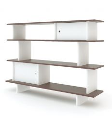 oeuf - mini library (white/walnut)