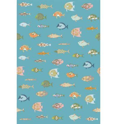 inke - wall print wallpaper fishes vissen bont