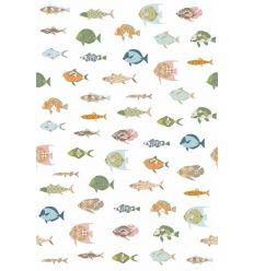 inke - carta da parati pannello pesci (vissen wit)