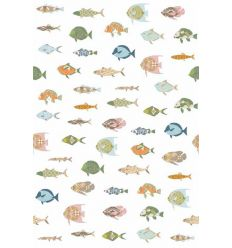 inke - wall print wallpaper fishes vissen wit