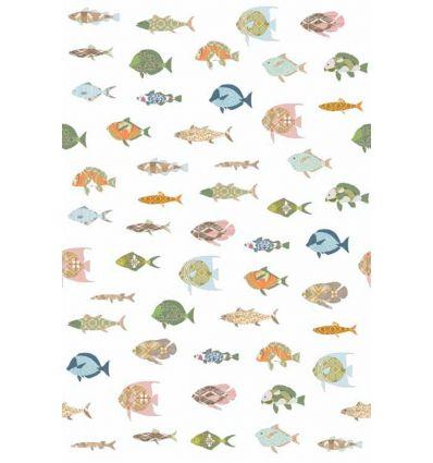 inke - wall mural fishes vissen wit