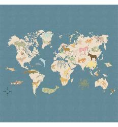 "inke - wall print wallpaper worldmap ""wereld"""