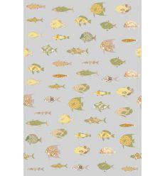 inke - carta da parati pannello pesci (vissen grijs)
