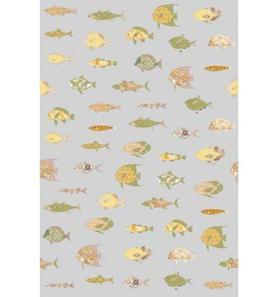 inke - wall mural fishes vissen grijs