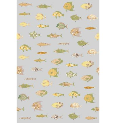 inke - wall print wallpaper fishes vissen grijs