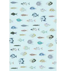 inke - carta da parati pannello pesci (vissen blauw)