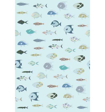 inke - wall print wallpaper fishes vissen blauw