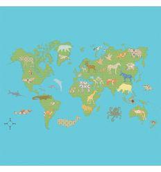 inke - wall mural worldmap wereld groen