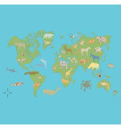 inke - murale in carta da parati mappamondo wereld groen