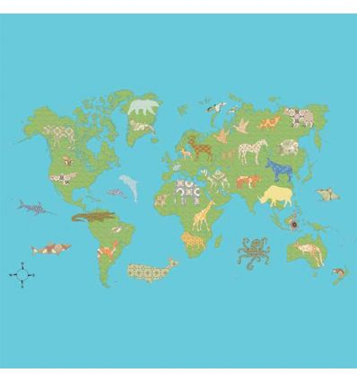 "inke - wall print wallpaper worldmap ""wereld groen"""