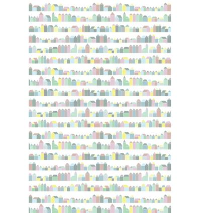 inke - pannello carta da parati casette huisjes pastel