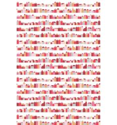 inke - carta da parati pannello casette (huisjes rood)