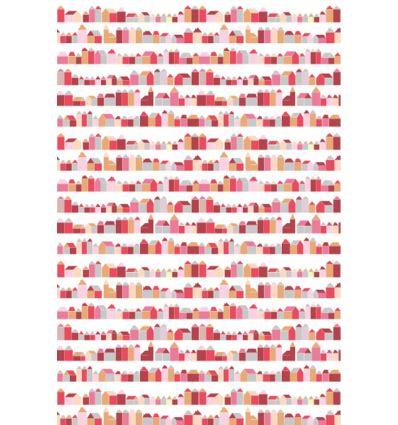 inke - wall print wallpaper houses huisjes rood